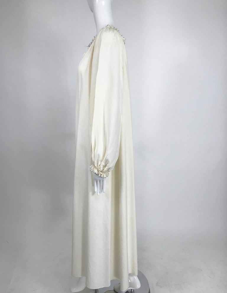Vintage Fernando Sanchez Cream Silk Bohemian Maxi Dress 1970s In Good Condition For Sale In West Palm Beach, FL