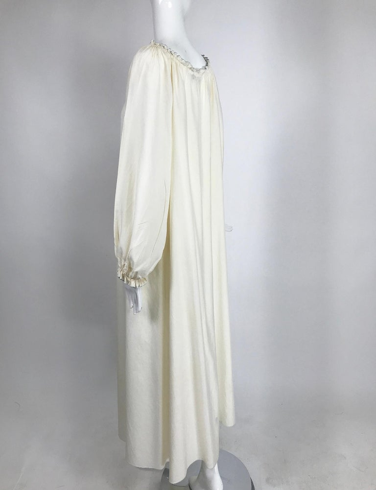 Women's Vintage Fernando Sanchez Cream Silk Bohemian Maxi Dress 1970s For Sale