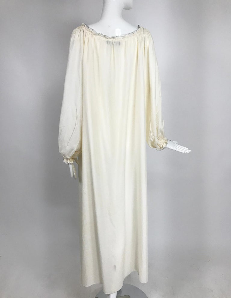 Vintage Fernando Sanchez Cream Silk Bohemian Maxi Dress 1970s For Sale 1