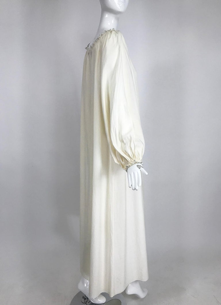 Vintage Fernando Sanchez Cream Silk Bohemian Maxi Dress 1970s For Sale 2