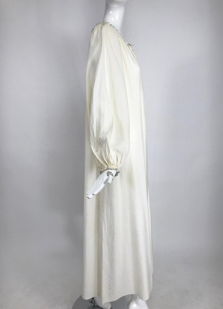 Vintage Fernando Sanchez Cream Silk Bohemian Maxi Dress 1970s For Sale 3