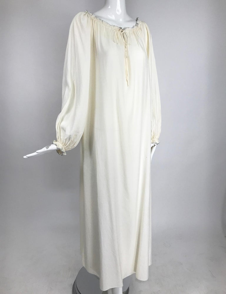 Vintage Fernando Sanchez Cream Silk Bohemian Maxi Dress 1970s For Sale 4