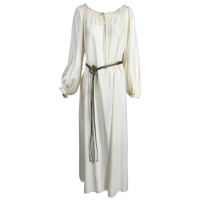Vintage Fernando Sanchez Cream Silk Bohemian Maxi Dress 1970s For Sale