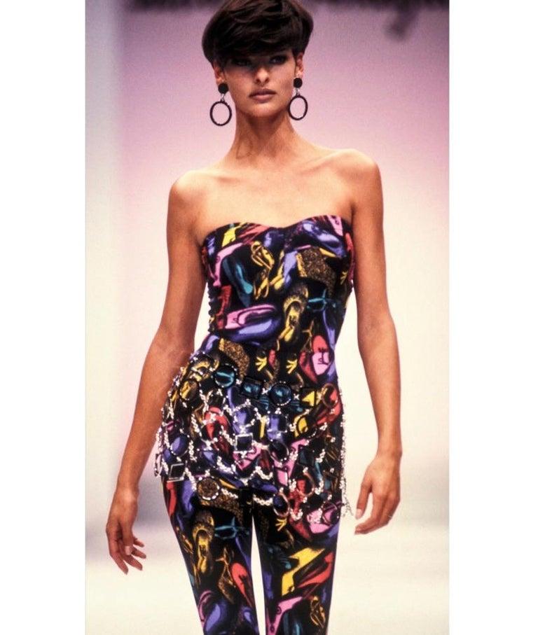 Black Vintage Ferragamo Multicolor Shoe Print Jumpsuit & Jacket Ensemble 1991