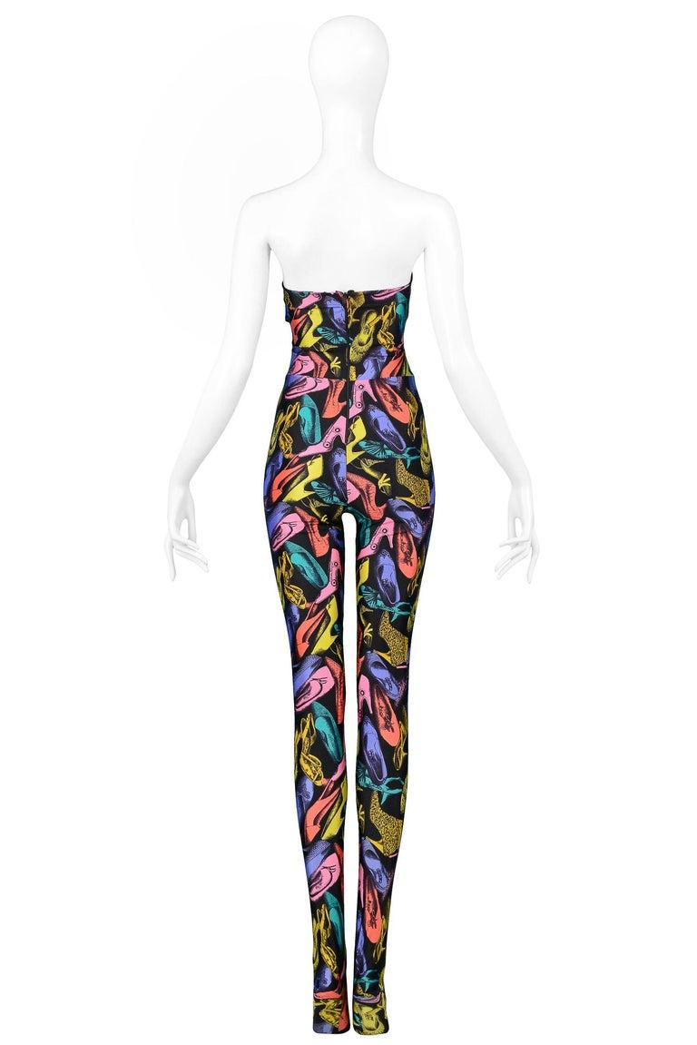 Women's Vintage Ferragamo Multicolor Shoe Print Jumpsuit & Jacket Ensemble 1991