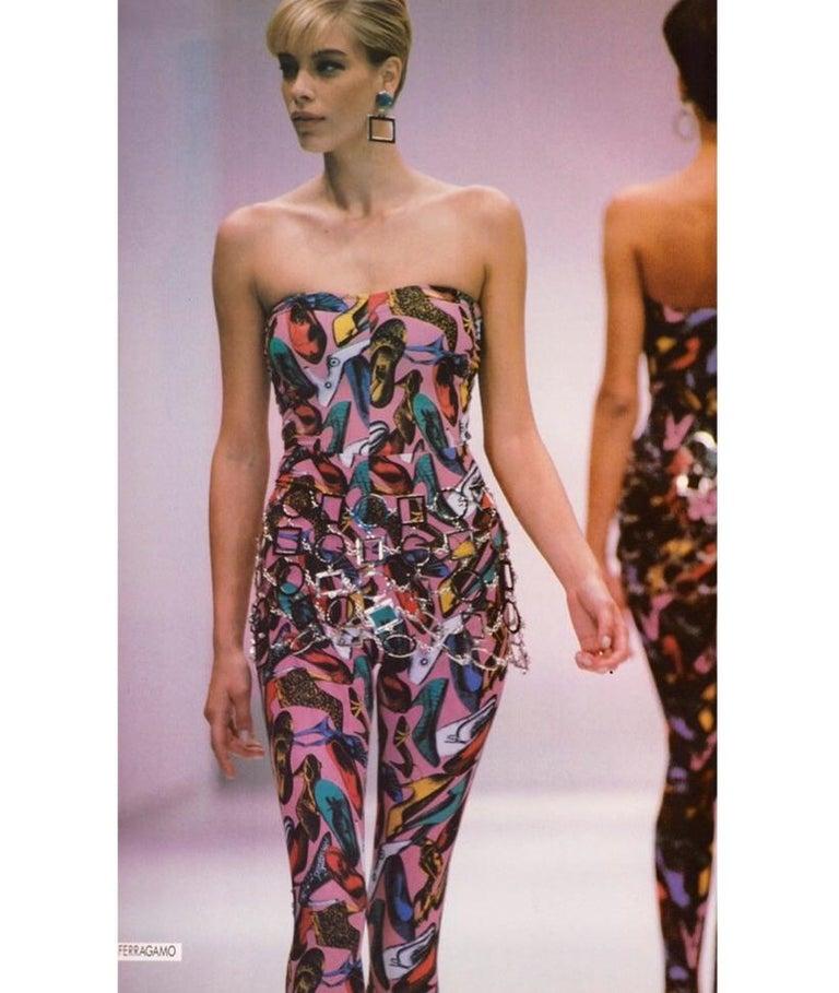 Vintage Ferragamo Multicolor Shoe Print Jumpsuit & Jacket Ensemble 1991 2