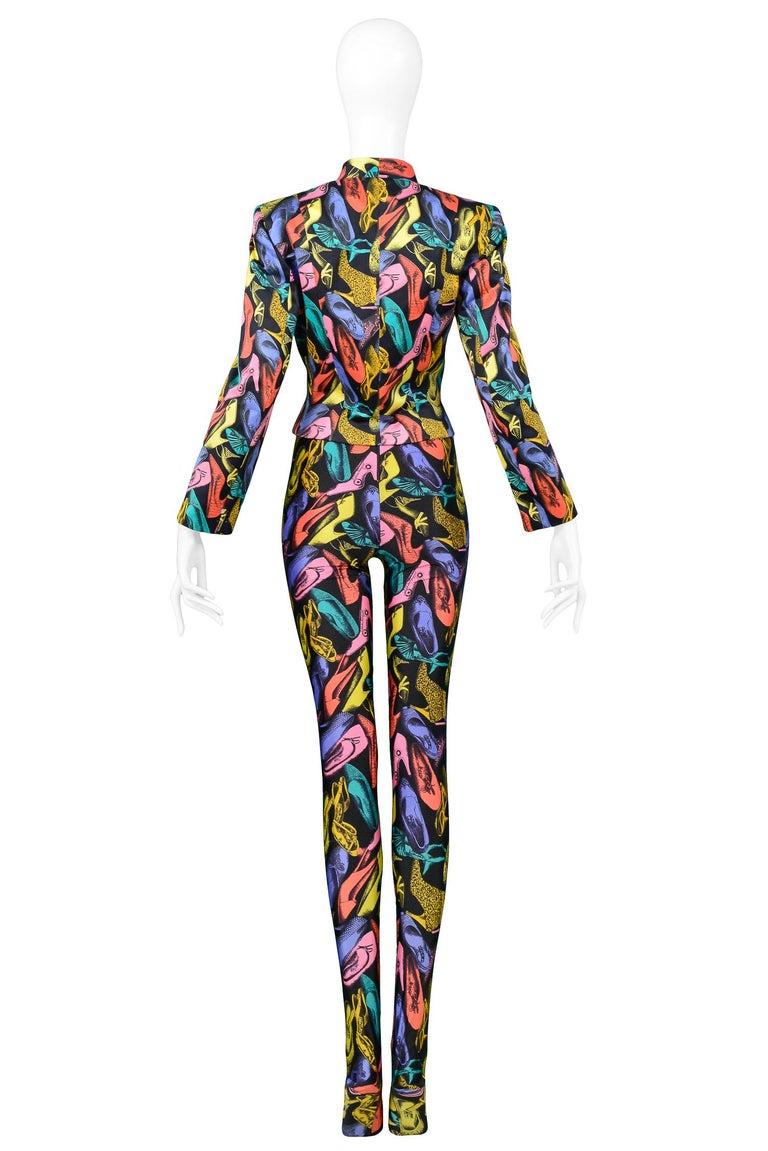 Vintage Ferragamo Multicolor Shoe Print Jumpsuit & Jacket Ensemble 1991 4