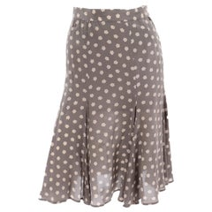 Vintage Ferragamo Silk Pleated Tan and Cream Floral Print Skirt