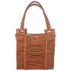 Vintage Ferragamo Woven Leather Tote Style Handbag
