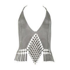 Vintage Ferrara Chainmail Metal Disco Halter Top with Rhinestone Diamond Front