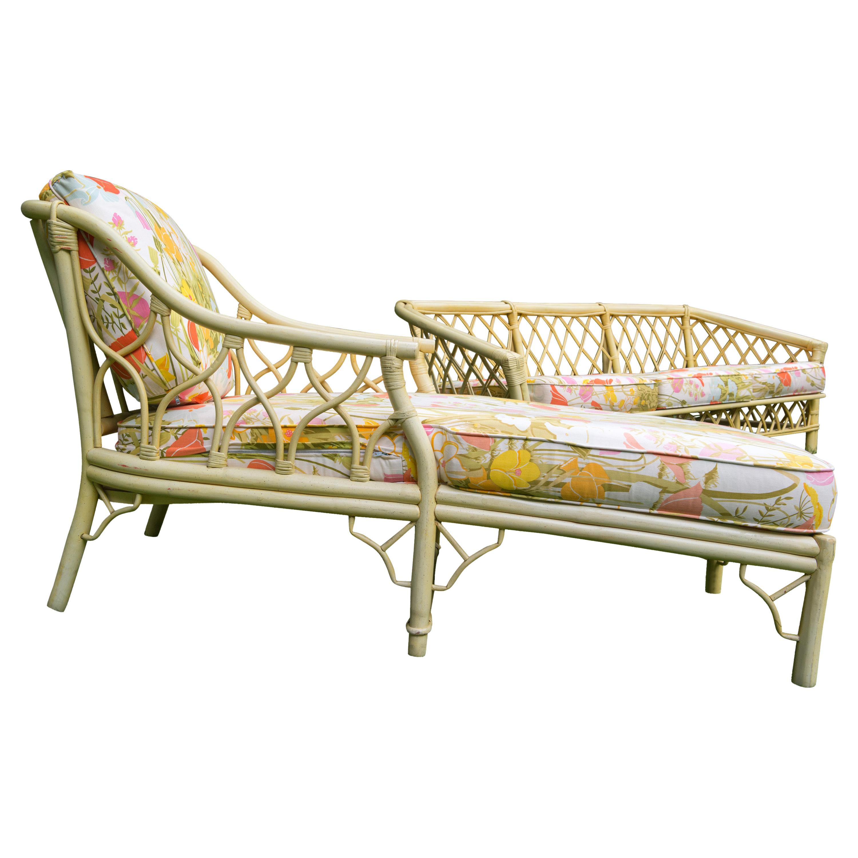 Vintage Ficks Reed Chinoiserie Bamboo Style Chaise Longue
