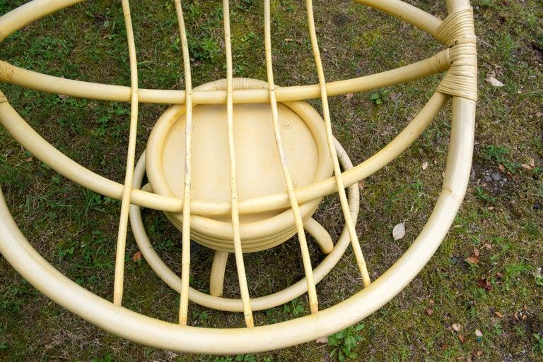 American Vintage Ficks Reed Circular Rattan Rocking Chair For Sale
