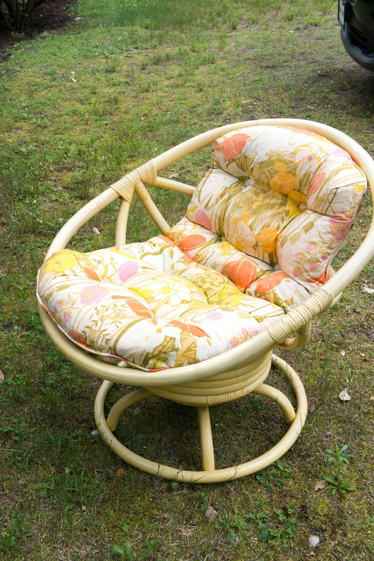 Late 20th Century Vintage Ficks Reed Circular Rattan Rocking Chair For Sale