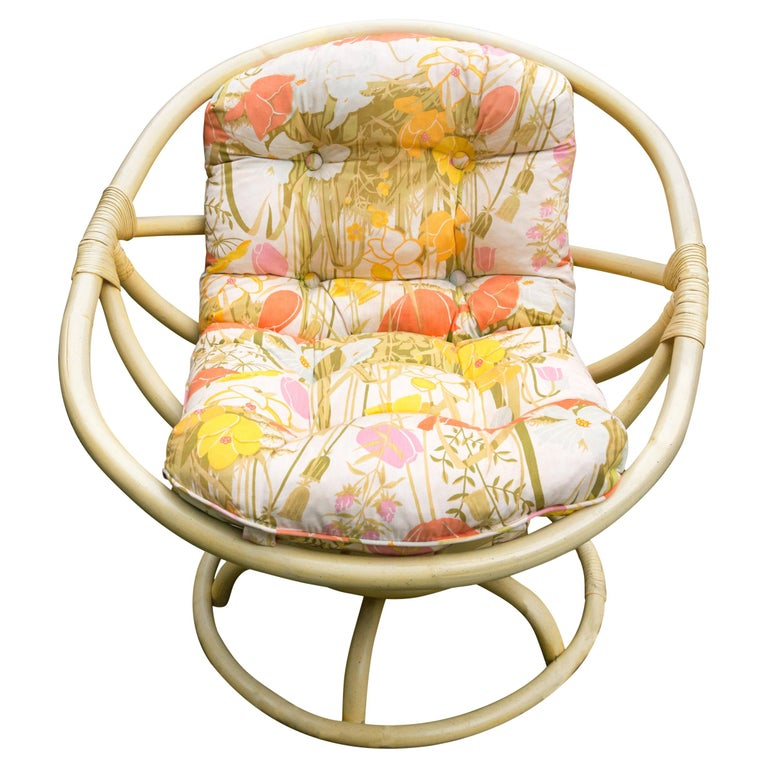 Vintage Ficks Reed Circular Rattan Rocking Chair For Sale