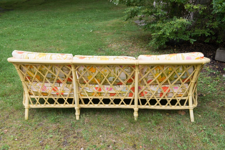 Vintage Ficks Reed Faux Bamboo Chinoiserie Style Sofa For Sale 6