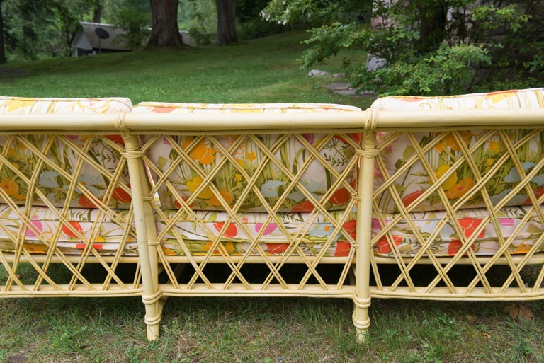 Vintage Ficks Reed Faux Bamboo Chinoiserie Style Sofa For Sale 7