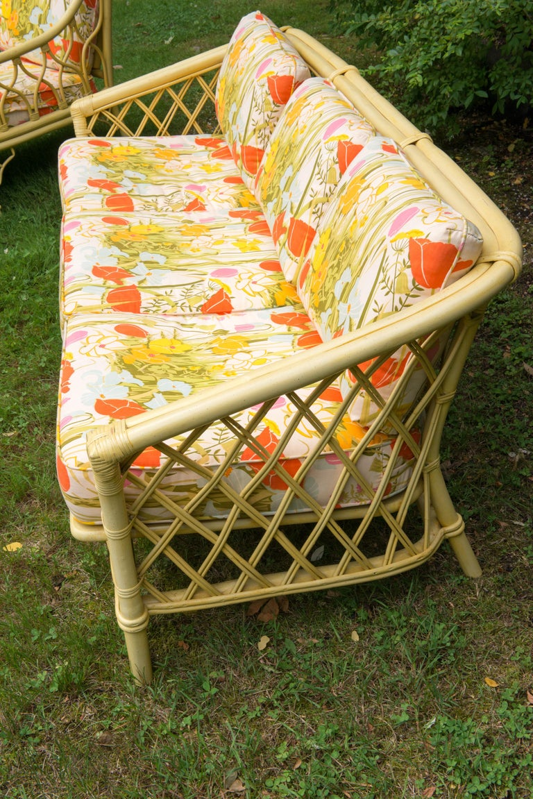 Vintage Ficks Reed Faux Bamboo Chinoiserie Style Sofa For Sale 3