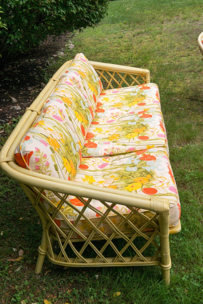 Vintage Ficks Reed Faux Bamboo Chinoiserie Style Sofa For Sale 4