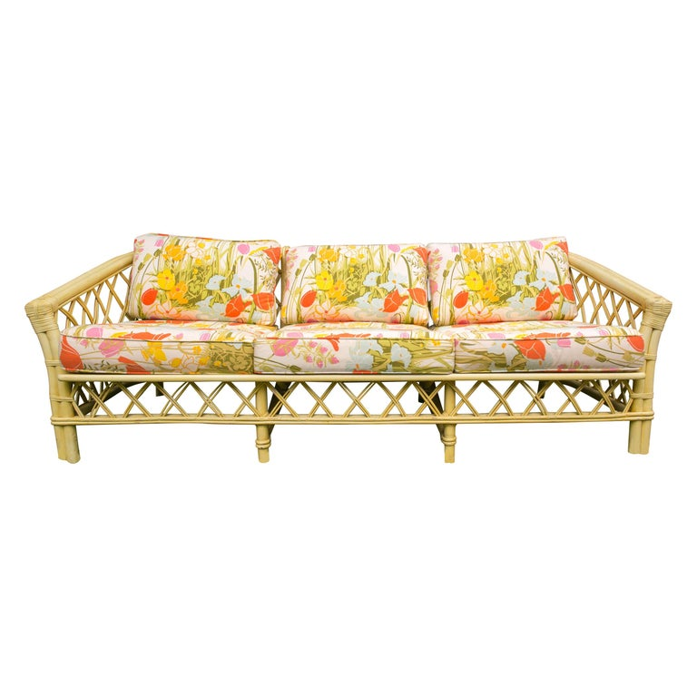 Vintage Ficks Reed Faux Bamboo Chinoiserie Style Sofa For Sale
