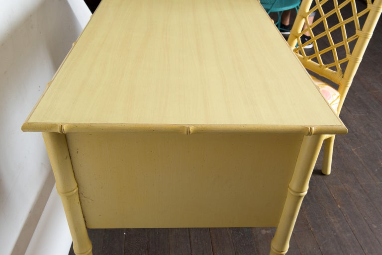 Vintage Ficks Reed Faux Bamboo Desk & Chair For Sale 5