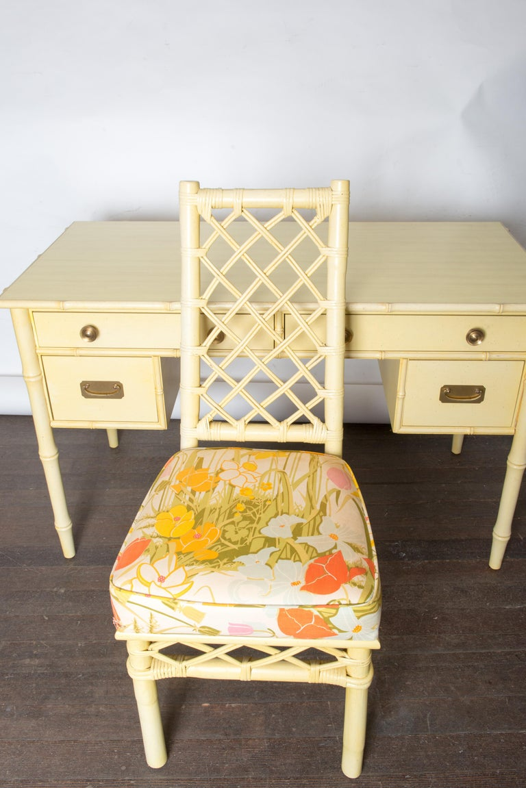 Vintage Ficks Reed Faux Bamboo Desk & Chair For Sale 6