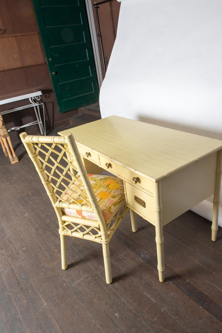 Vintage Ficks Reed Faux Bamboo Desk & Chair For Sale 3