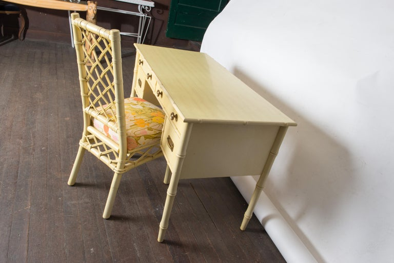 Vintage Ficks Reed Faux Bamboo Desk & Chair For Sale 4