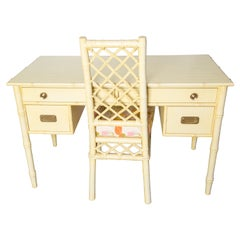 Vintage Ficks Reed Faux Bamboo Desk & Chair