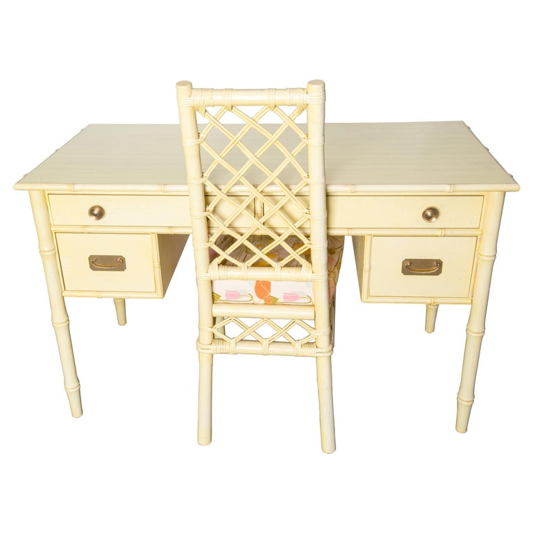 Vintage Ficks Reed Faux Bamboo Desk & Chair For Sale