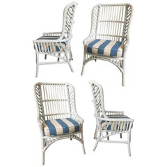Vintage Ficks Reed Rattan High Back Dining Chairs, Set of 4