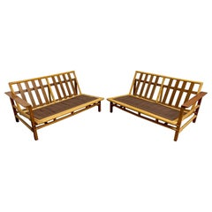 Vintage Ficks Reed Sectional Sofas Walnut with Rattan