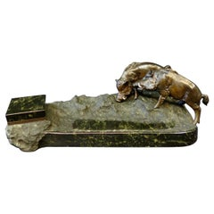 Vintage Figural Bronze Boar Inkwell