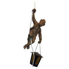 Vintage figural Pendant Lamp a Mountain Climber & Lantern in Black Forest Style