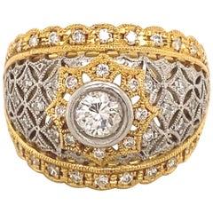 Vintage Filigree .35 Carat Center Diamonds 18 Karat Platinum Yellow Gold Ring