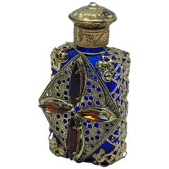 Vintage Filigree Blue Ormolu Collectible Glass Perfume Bottle