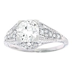 Vintage Filigree Diamond and Platinum Engagement Ring