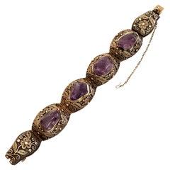 Vintage Filigree Gold Vermeil over Silver and Amethyst Bracelet