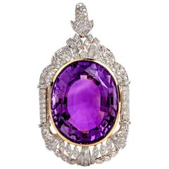Vintage Filigree Large Amethyst Diamond 18 Karat Gold Pendant