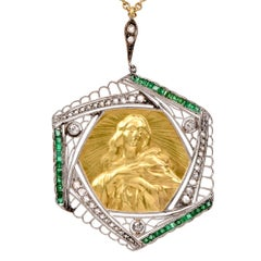 Vintage Filigree Madonna Portrait Diamond Emerald Pendant Necklace