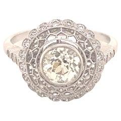 Vintage Filigree Old Mine Cut .87 Carat Diamond Platinum Ring