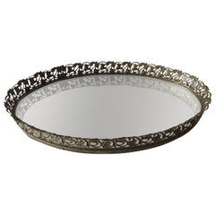 Vintage Filigree Oval Brass Vanity Tray with Mirror