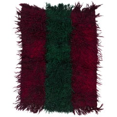 """Vintage """"Filikli"""" Tulu Rug Made of Mohair 'Angora Wool', Red and Green Colors"""