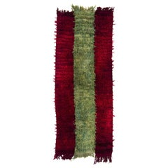 """Vintage """"Filikli"""" Tulu Rug Made of Mohair Wool, Red and Green Colors"""