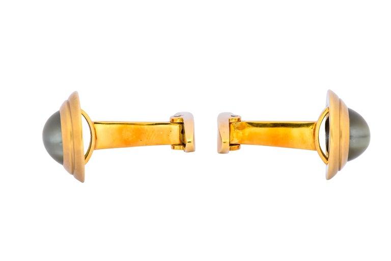 Vintage Fine Cat's Eye Chrysoberyl 18 Karat Gold Men's Cufflinks In Excellent Condition For Sale In Philadelphia, PA