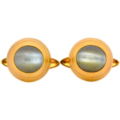 Vintage Fine Cat's Eye Chrysoberyl 18 Karat Gold Men's Cufflinks