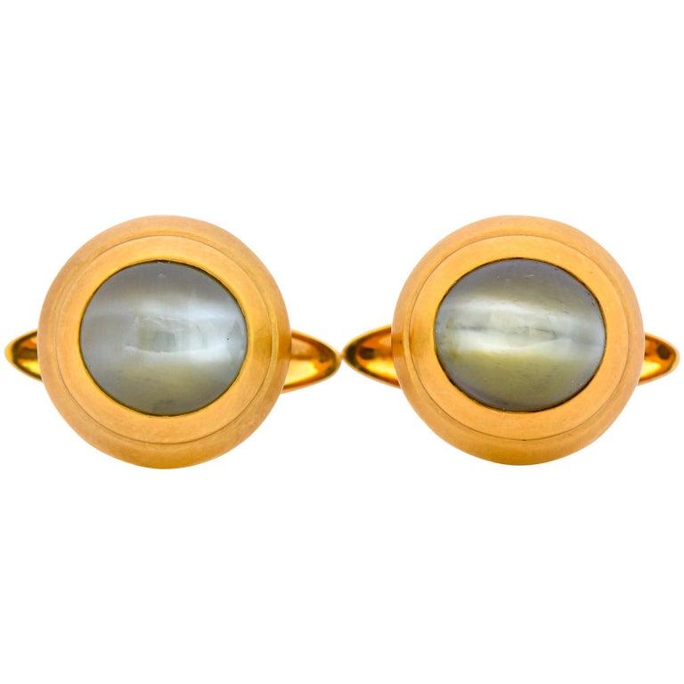 Vintage Fine Cat's Eye Chrysoberyl 18 Karat Gold Men's Cufflinks For Sale
