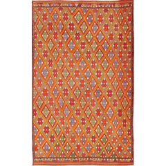 Vintage Fine Embroidered Jijim Rug with Diamond Design in Bright Colors