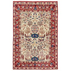 Vintage Fine Persian Isfahan Rug with Nature Motifs in Ivory and Red