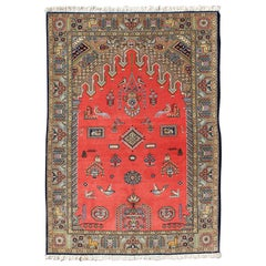 Vintage Fine Persian Qum Prayer Rug with Red Field and Tribal Motif Design