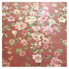 Vintage Fine Portuguese Needlepoint Rose Carpet Schumacher, PFM Rug, Handmade